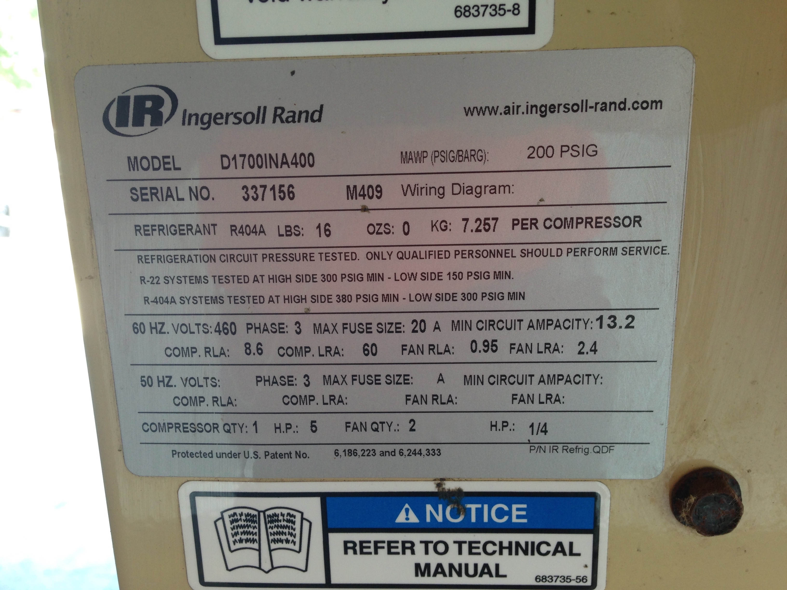 Ingersol Rand 1700 Scfm Air Dryer United Food Beverage Wiring Diagrams