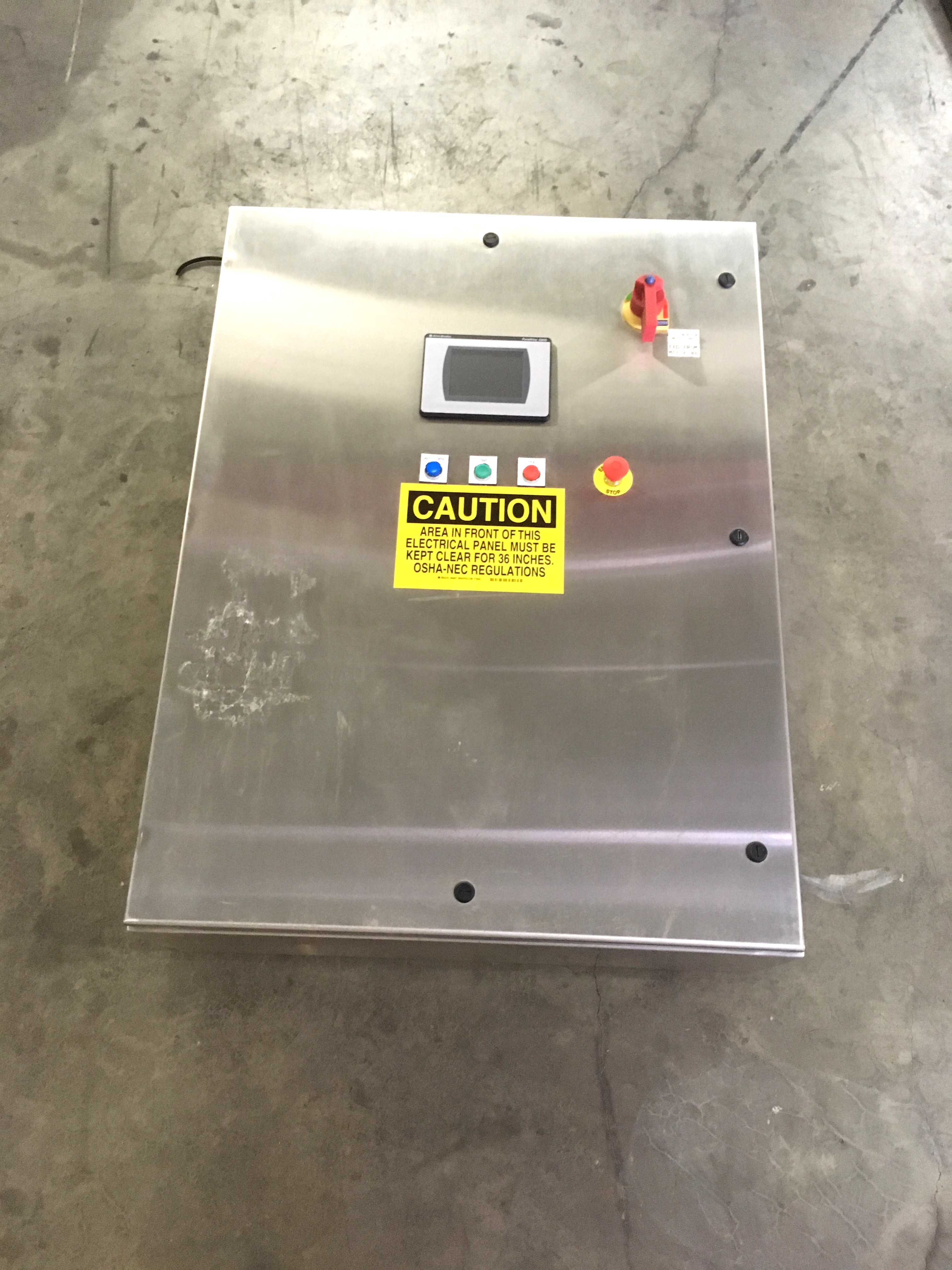 Stainless steel control panel with allen bradley